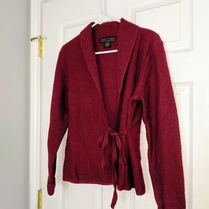Vintage Red Wool Wrap Sweater Small